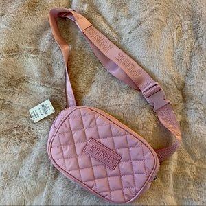 Pink VS quilted blush belt bag